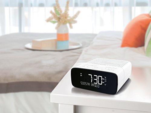 Pure Siesta S2 DAB+/DAB/FM Digital Radio Alarm Clock - Bedside Clock DAB Radio with Auto Time Set, CrystalVue Display and 10 Station Pre-Sets - Polar