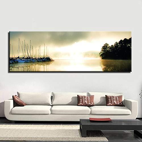 BUHUAZXM Modern schilderij print op canvas muurkunst poster bos steppe landschap afbeeldingen voor woonkamer decoratie 50x150cm Geen frame.