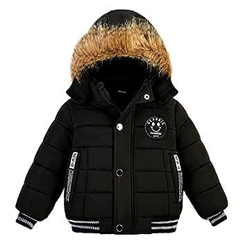 Toddler Boys Down Jacket Fur Collar Hood Thick Warm Winter Snowsuit Coat Parka