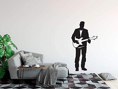 Elektrische Gitaar Muursticker Zanger Man met Gitaar Vinyl Muursticker Home Music Club Decoratie Gitaar Zanger Muurposter 30x57cm
