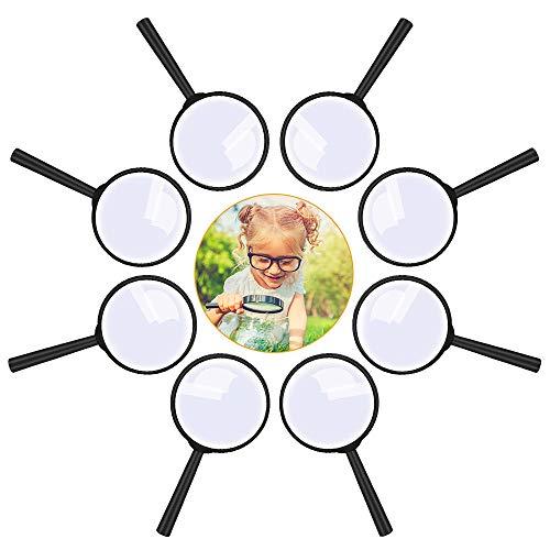 Lupe Kinder 8 Stück, Lupen Set Spielzeug Kunststoff Tragbare Minilupe Taschenlupe Vergrößerun Gsglas, Ideal zum Kindergeburtstag Party Geschenk Mitbringsel für Detektiv Spion Geheimagent Forscherset