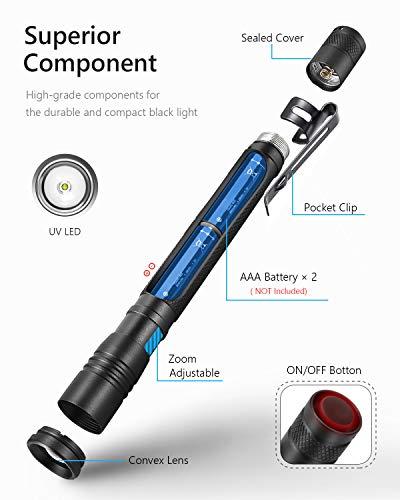 UV Black Light Flashlight, 2 Pack LED UV Torch Mini Blacklight Ultraviolet Pen Lights for Leak and Hotel Inspection - Pet Urine, Bed Bug, Scorpion, Stain, and Dye Detector 2