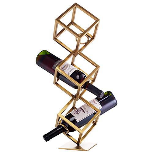 3-laags flessenhouder, gratis staande wijnrek, metalen wijnrek met stevige en duurzame, voor het opslaan van alle soorten wijn, champagne