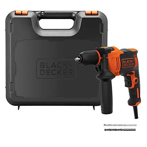 BLACK+DECKER 550 W Hammer Drill Power Tool with Side Handle and Kitbox, BEH550K-GB