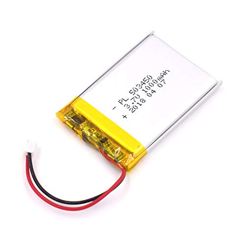 Price comparison product image 3.7V 1000mAh 503450 Lipo Battery Rechargeable Lithium Polymer ion Battery Pack with JST Connector