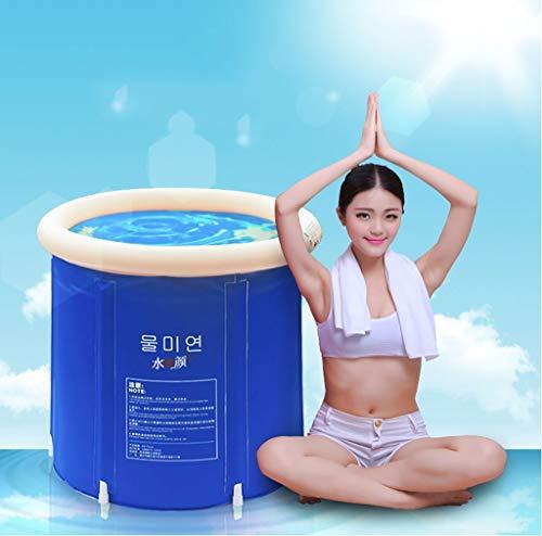 Gweat Blau Badewanne klappbar Wannenbad Fass Erwachsenen Wanne aufblasbare Badewanne, Dicker Plastikeimer Badewanne 85x75x75cm(größe : L)