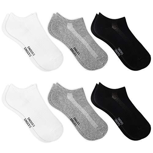 Snocks Herren & Damen Sneaker Socken (6x Paar) Lange Haltbarkeit Dank Bester Qualität 2x Schwarz + 2x Weiß + 2x Grau, 35 - 38