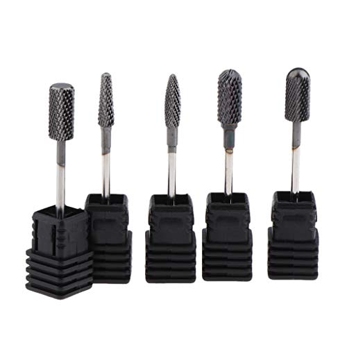 Fenteer 5PCS Electric Nail Drill Bit Set, Nail Bits Tungsten Steel Rotary Burrs Cleaning Polishing Head Nail Bit for Electric Nail Machine Accessorie