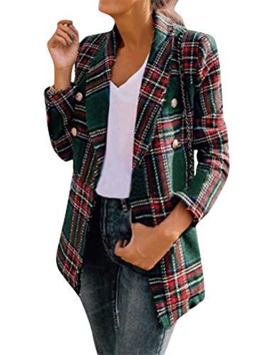 Minetom Damen Elegant Langarm Blazer Sakko Slim Fit Revers Geschäft Büro Jacke Mantel Anzüge Bolero Mit Tasche Knopfleiste In Karo-Muster Grün 40