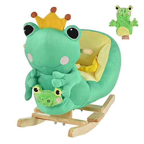 Qaba Kids Ride-On Rocking Horse Toy Frog Style Rocker with Fun Music & Soft Plush Fabric for Children 18-36 Months