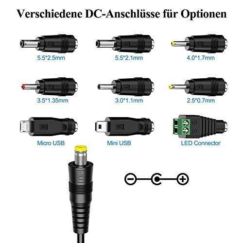[Verbesserte Version] PChero 30W Universal AC/DC Adapter Schaltnetzteil mit 9pcs Adapter Tipps, enthält Mini & Micro USB Stecker, für 3V bis 12V Haushaltselektronik und LED-Streifen - 2000mA max