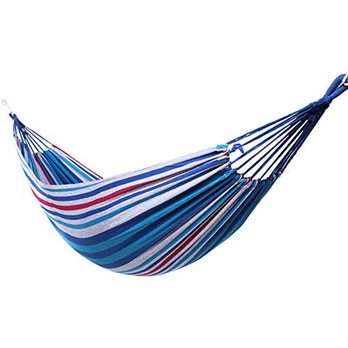 Outdoor Dik Canvas Hangmat, Camping Schommelstoel Student Tweepersoonsbed Tent Slaapkamer Volwassen Wieg Huishoudelijke Slaapzaal Netto Bed Om Touw Rood Te Sturen (200 * 100cm),Blue white,Single