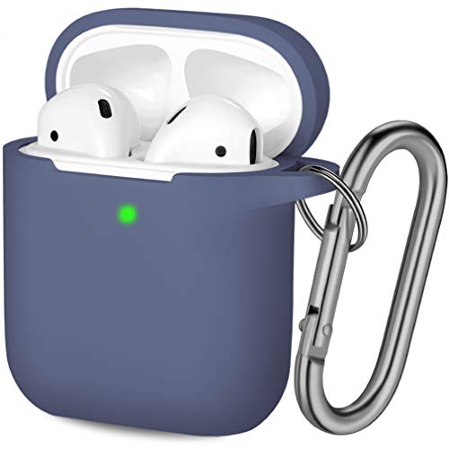Hamile Compatible with AirPods Case [Front LED Visible] Soft Silicone Protective Cases Cover Skin Designed for Apple AirPod 2 & 1, Women Men, with Keychain (Blue Gray)