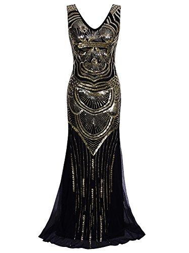 Vijiv 1920s Long Maxi Prom Gowns Sequin Mermaid Bridesmaid Wedding Evening Dress,Black Gold,Small