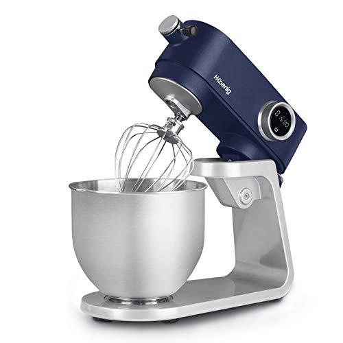 Robot Pétrin Professionnel Multifonctions 5L H.Koenig KM126 Inox bleu mat Puissant 800W, Robot Cuisine Pâtissier Pétrin 8 vitesses, Fouet, Batteur, Crochet, Pétrisseur, Couvercle anti-éclaboussure