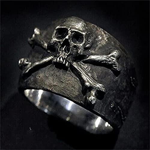 KFXD Skull and Crossbones Ring,Pirate Skull Rings,Pirate Skull Rings For Men, Vintage Crossbones Pirate Skull Ring 10# Silver