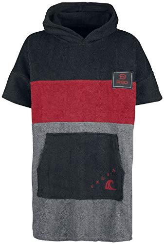RED by EMP Catch A Wave Unisex Bademantel schwarz/rot/grau S-M 100% Baumwolle Basics, Streetwear
