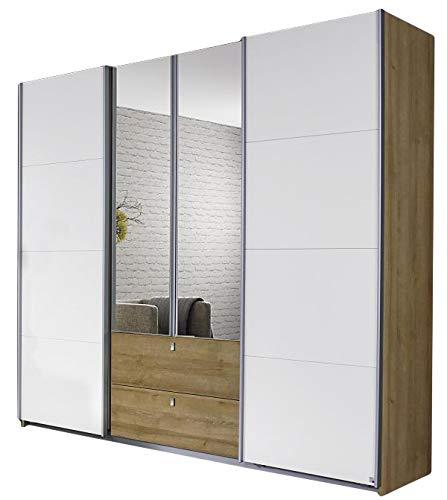 Jugendmöbel24.de Dreh-/Schwebetürenschrank Luisa Eiche Riviera/weiß 4 Türen B 226 cm Drehtürenschrank Kleiderschrank Schiebetürenschrank Spiegeltürenschrank