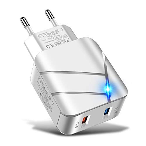 Morninganswer Cargador de Viaje Luminoso con Carpa USB, Tableta, teléfono Inteligente, Adaptador de utilización eficiente para Productos electrónicos domésticos, Blanco, UE