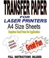Laser & fotocopiatrici, risma T & tessuto di carta, personalizzabili, per tessuti chiari, 10 fogli A4