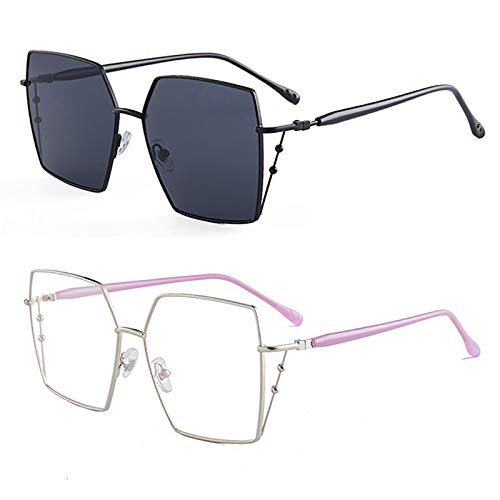 HFSKJ Pack de 2 Gafas de Sol, Gafas de Sol poligonales Irregulares Gafas Retro cuadradas de Metal Las Gafas Populares Son adecuadas para Hombres y Mujeres,A