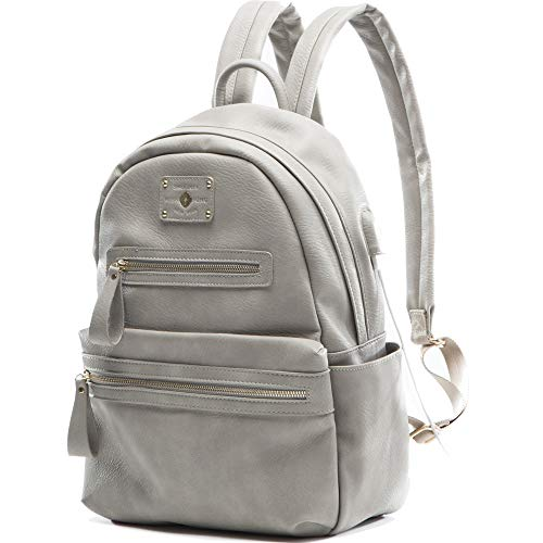 Backpack For Women by Miss Fong , Womens Backpack Leather, Backpack Purse, Laptop Backpack with USB Charger,Fits 13 Inch, 14 Inch Laptop (Grey)