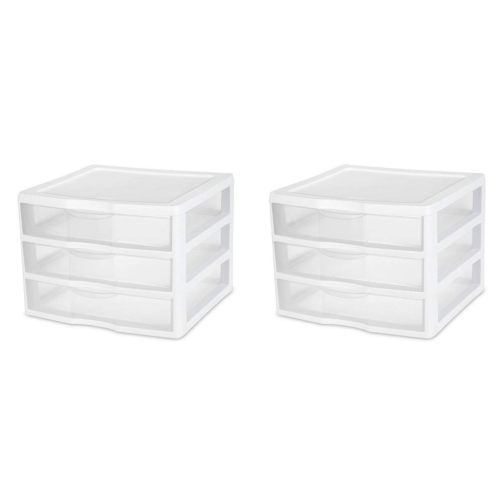 White // Clear PACK OF 2 ClearView Wide 2093 Sterilite 3-Drawer Organizer 10.25H x 14.5W x 14.25D