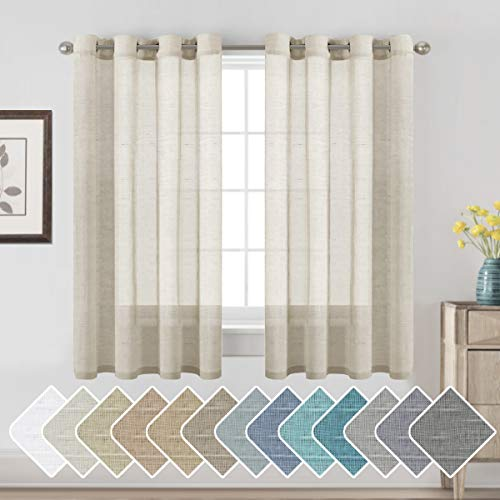 H.VERSAILTEX Decorative Home Fashion Linen Sheer Curtains Light Filtering Solid Drapes for Window, 1 Pair Natural Open Weave Linen Curtains Sheer Grommet Top (Set of 2, 52 by 63Inch, Natural)