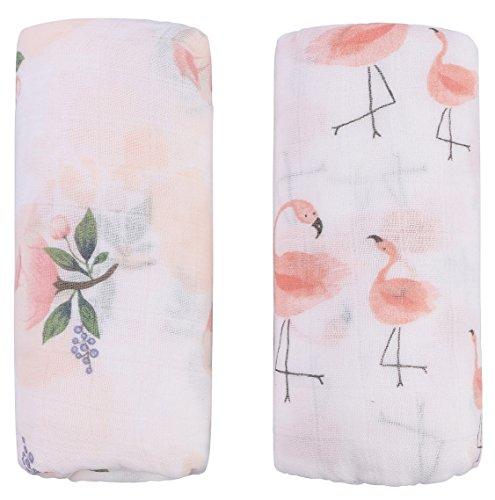 Little Jump Musselin Decke Swaddle Pucktücher aus Puckdecken - (2 Stück, Floral & Flamingo) Bambus Baumwolle Baby Einschlagdecke, Spucktücher - weiche Baby Decken für Mädchen (Floral & Flamingo)