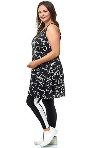 Magna Tunika Damenkleid Sommerkleid Letterprint Cocktailkleid Farbe schwarz-weiß, Größe 48/50