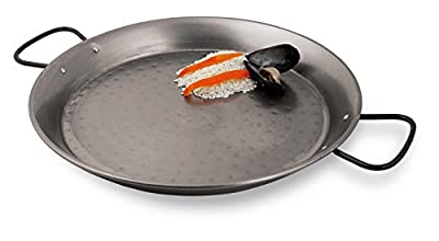 Paderno World Cuisine 13.325 Inch Polished Carbon Steel Paella Pan