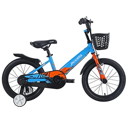 ZXQZ Bicicleta de 14'/ 16', Bicicleta para Niños con Ruedas de Entrenamiento, Frenos de Mano y Canasta, (Color : Blue Orange, Size : 14 Inches)