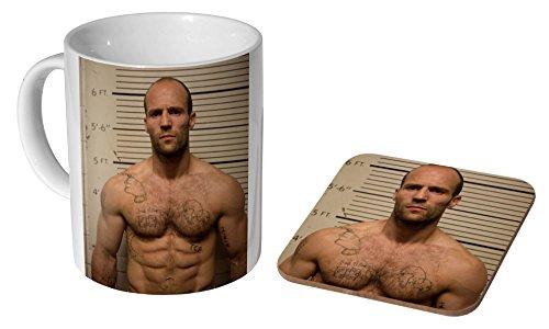 Jason Statham Topless Tattoos Keramik Kaffeetasse + Untersetzer Geschenkset ...