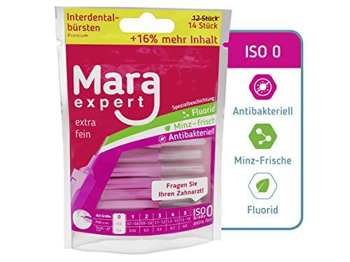 Interdentalbürste Pink - MARA EXPERT | 0,4mm ISO 0 extra fein |12+2 Interdentalbürsten | 16% EXTRA | Bürsten für Zahnzwischenräume | Mit Minz Geschmack - Chlorhexidin - Fluorid