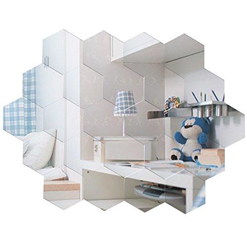 Anladia Spiegelfliesen Wandspiegel Selbstklebend, 24 Stück Hexagon-Spiegel Silber für Badezimmer, Küche, Wohnzimmer, Umkleidekabine
