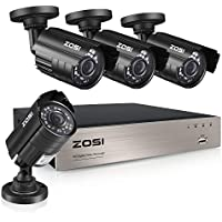 Zosi 8-Channel Video Security System DVR recorder with 4 Cameras