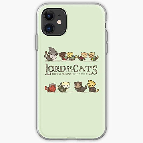 NDSXTLCA Compatibile con iPhone 11 PRO Custodie Rings The Parody LOTR of Lord Cats Pure Clear Custodie per Telefoni AntiGraffio Protezione Antiurto Cover