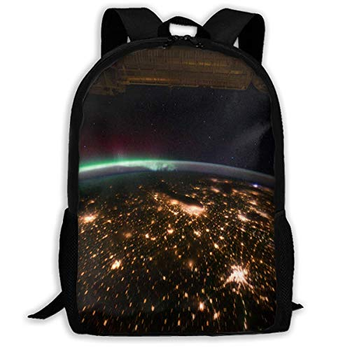 NA Rucksack Midwestern USA at Night mit Aurora Reißverschluss Schultasche Büchertasche Daypack Reiserucksack Turnbeutel für Herren Damen