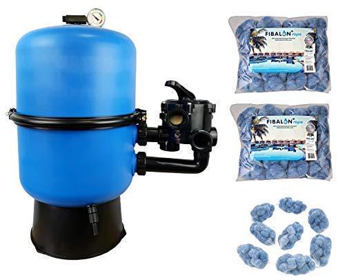 well2wellness Pool Sandfilter Behälter Sandy.Split 2-geteilt Ø 400 mm mit 6-Wege-Ventil Plus 2 x 350g Filtermaterial Fibalon Rope