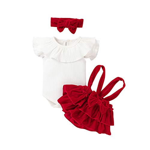 Juego 3 piezas ropa verano elegante niña recién nacida camisa blanca manga corta con solapa encaje+pantalones elásticos doblados rojos+banda lazo 0–24 meses Color (blanco,12-18 Meses)