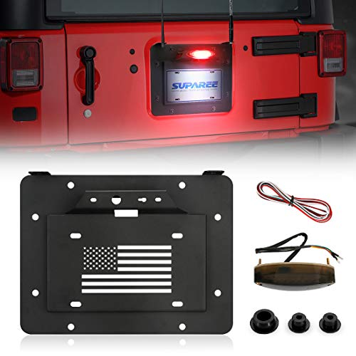 SUPAREE Spare Tire Delete License Plate Relocation Kit w/Plate Illuminate Light Third Brake Light for 2007-2018 Wrangler JK & Unlimited