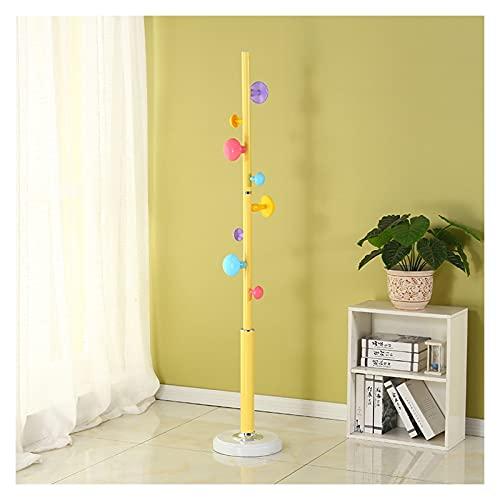 Stand Coat Rack Sombrero de madera Sombrero de madera Capa de pie libre con 8 ganchos Easy Montaje Lindo moderno hojas abrigo perchero para la entrada del pasillo del dormitorio ( Color : Yellow )