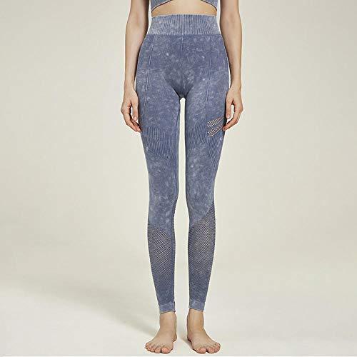 Lankfun Pantalones de Yoga de Control de Abdomen de Cintura Alta,Pantalones de Yoga Deportivos Transpirables de Cintura Alta sin Costuras-Blue_Small,Mallas de compresión de Control de Barriga