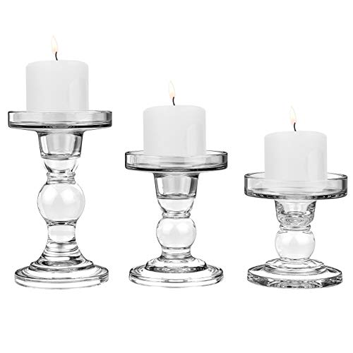 Lewondr Glass Candle Holders, 3 Pieces Crystal Clear Candlesticks with Elegant Design for Pillar Taper Candle and Tea Light, Home Table Living Room Wedding Party Decorations Home Décor - Clear