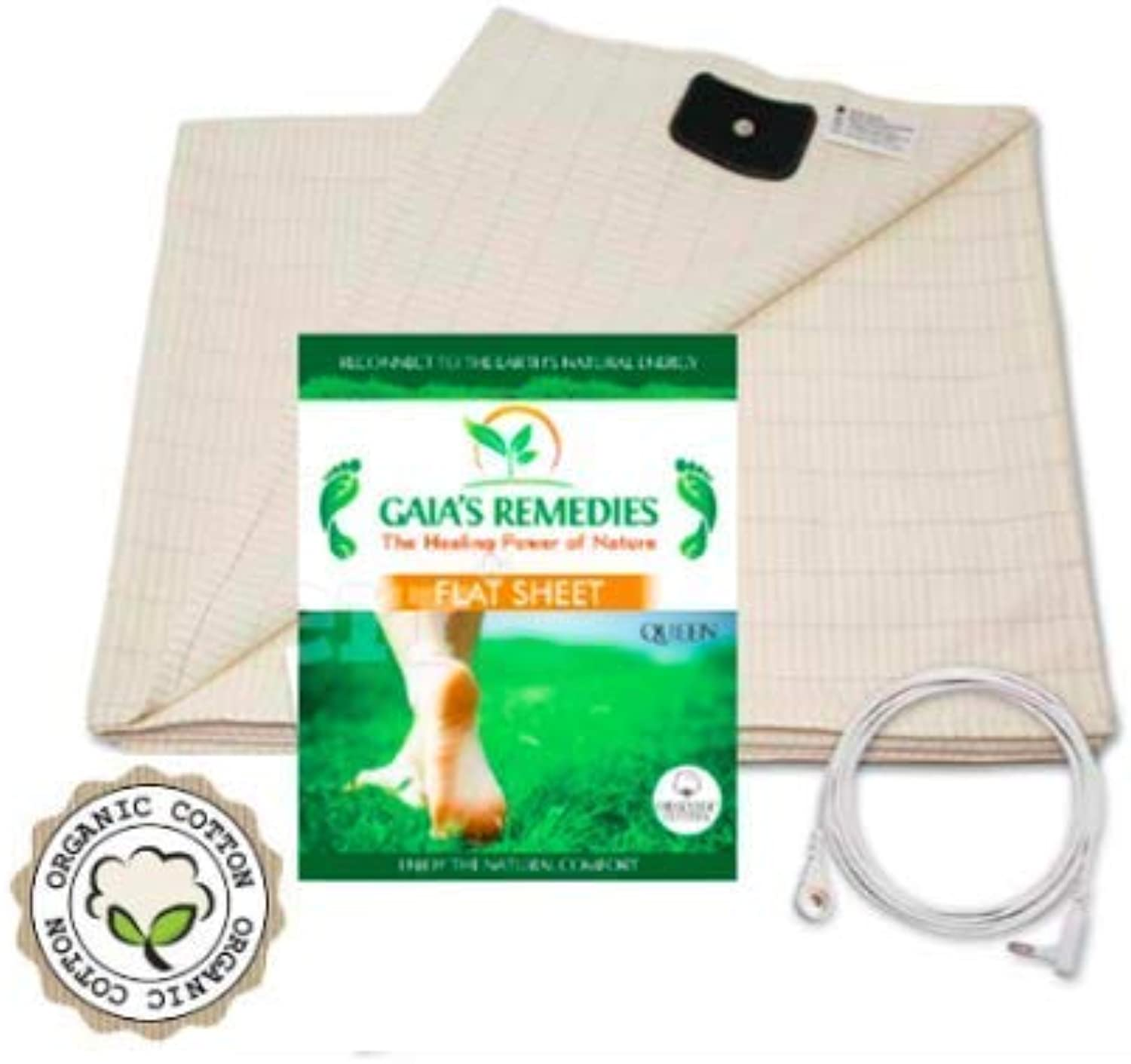 Earthing Grounding FULL Size (60 x 88) Flat Sheet - 95% Organic Cotton, 5% Silver Thread for EMF Predection, Antioxidants, Ion Exchange, Inflammation, Better Sleep, Reduced Pain.