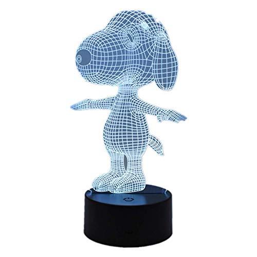 Lumière Ambiante, Mode Anime Bande Dessinée Snoopy 3D LED Lampe De Table Décoration de La Maison Télécommande/Tactile 7 Changement De Couleur Acrylique Nuit Lumière Décoration Lampe Chambre Décorati