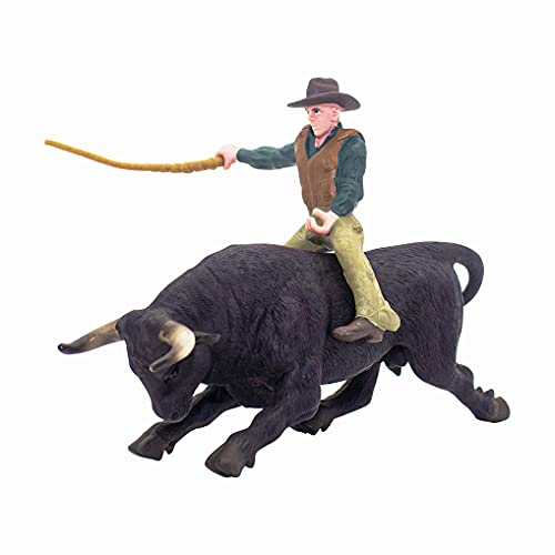 Cowboy with Black Bull Figurine Bull Rider Mini Set Texas Longhorn Cow Model Farm Animal Cattle Decoration Bullfighter Collectible