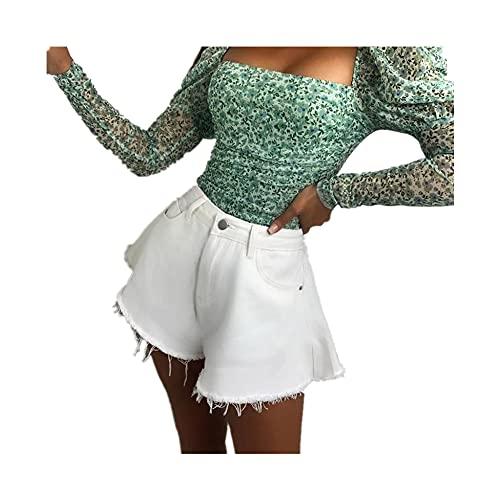 N\P Women Loose Shorts Color Mid Waist Cutting Edge Flared Denim Shorts Fahiong White