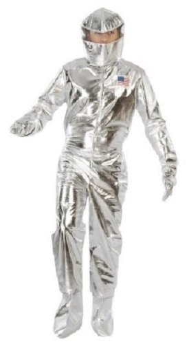 Fancy Me Homme Argenté Astronaute Space Cadet Américain Around The World Costume Déguisement - Argent, Argent, Large, L
