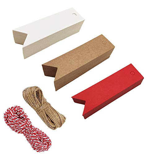 150 pcs Kraft Gift Paper Tags, Fish Tail White Brown Red Editable Blank Gift Label with Two Kinds Twine by Hubhnb